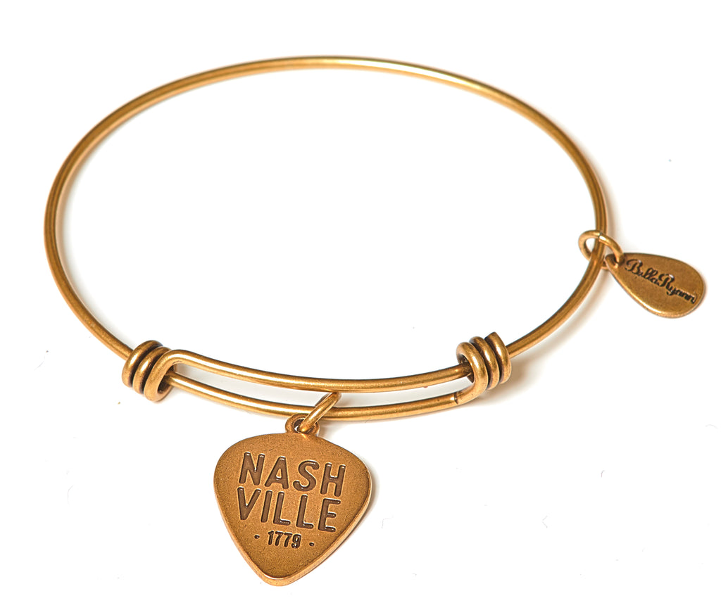 Nashville Music City Expandable Bangle Charm Bracelet in Gold - BellaRyann