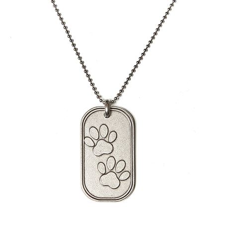 Dog Paws Dog Tag Necklace in Stainless Steel - BellaRyann