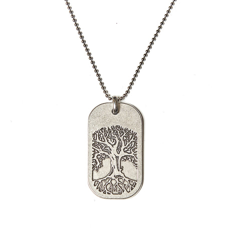Tree of Life Dog Tag Necklace in Stainless Steel - BellaRyann