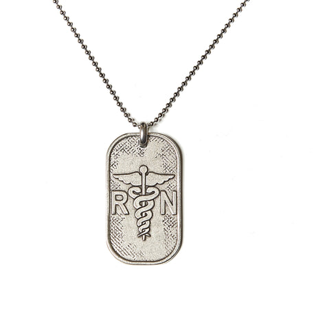 Nurse RN Dog Tag Necklace in Stainless Steel