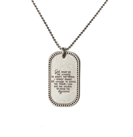 Serenity Prayer Dog Tag Necklace in Stainless Steel