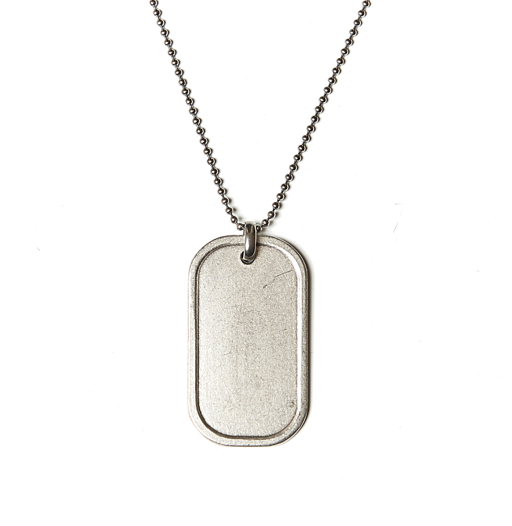 Engravable Blank Dog Tag Necklace in Stainless Steel - BellaRyann