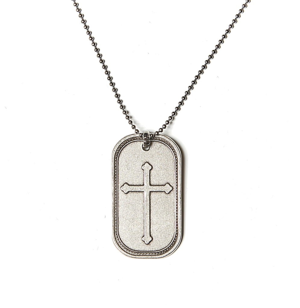 Cross Dog Tag Necklace in Stainless Steel