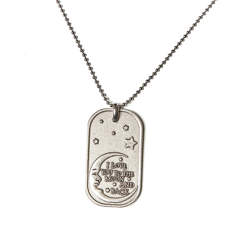 I Love You to the Moon and Back Dog Tag Necklace in Stainless Steel - BellaRyann