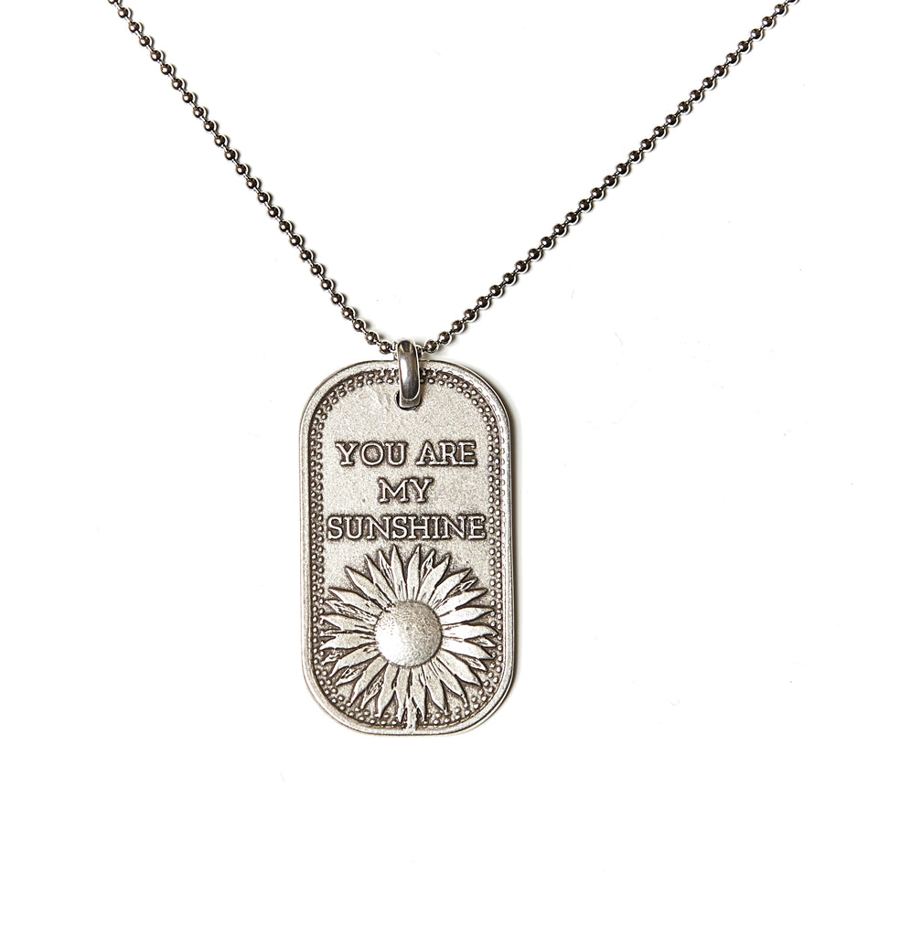 You Are My Sunshine (Sunflower) Dog Tag Necklace in Stainless Steel