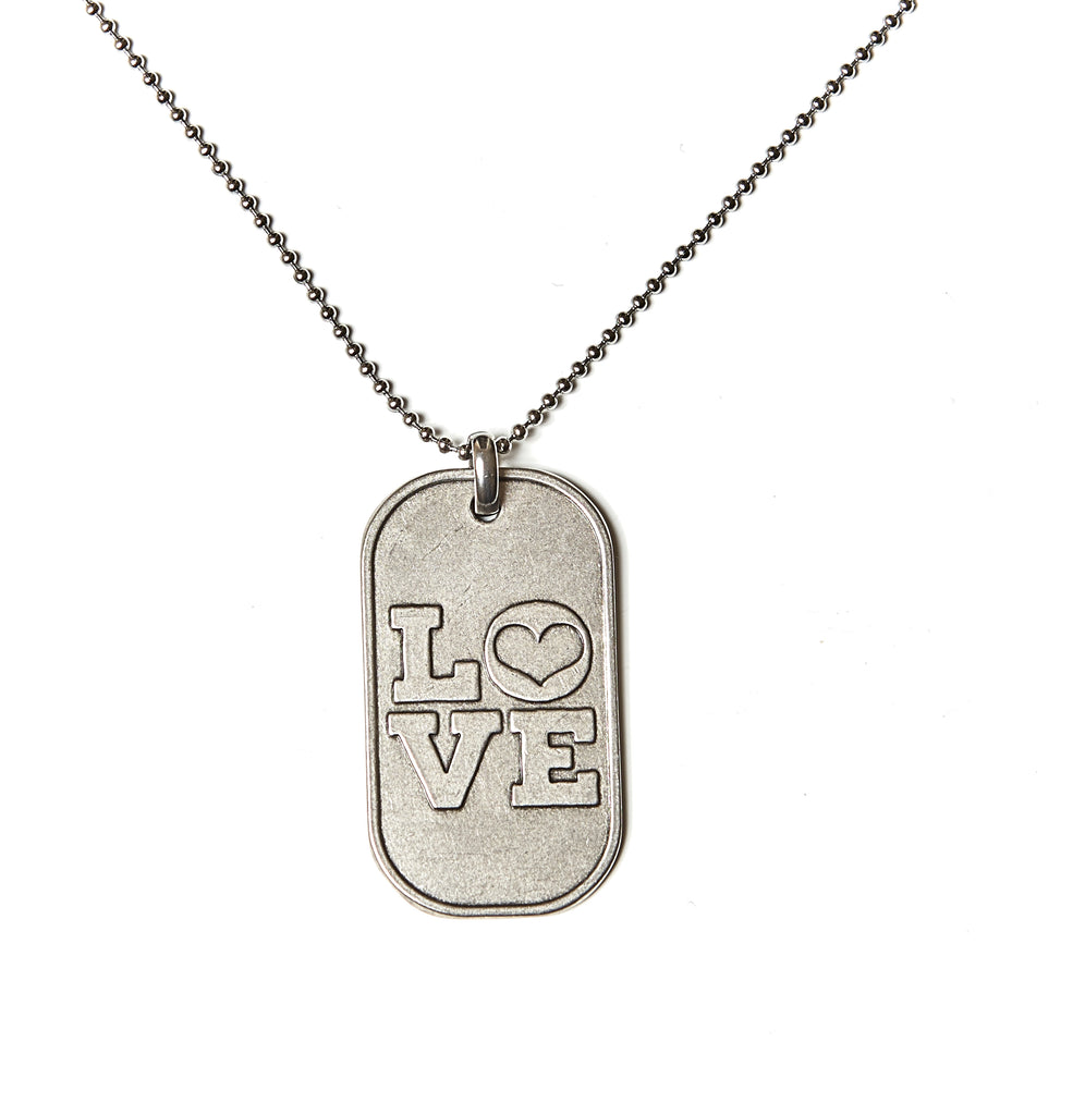 Love (Heart) Dog Tag Necklace in Stainless Steel