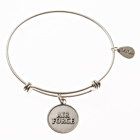 Air Force Expandable Bangle Charm Bracelet in Silver - BellaRyann
