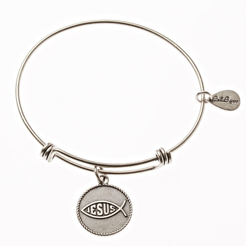 Jesus Fish Expandable Bangle Charm Bracelet in Silver - BellaRyann
