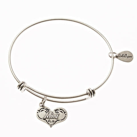 Mimi Expandable Bangle Charm Bracelet in Silver - BellaRyann