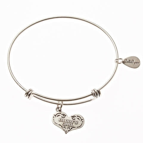 Daddy's Girl Expandable Bangle Charm Bracelet in Silver - BellaRyann