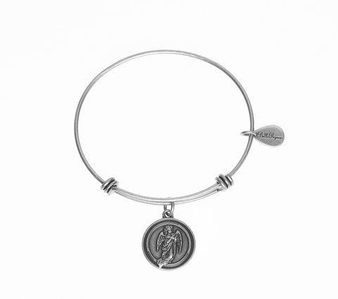 Guardian Angel Expandable Bangle Charm Bracelet in Silver - BellaRyann