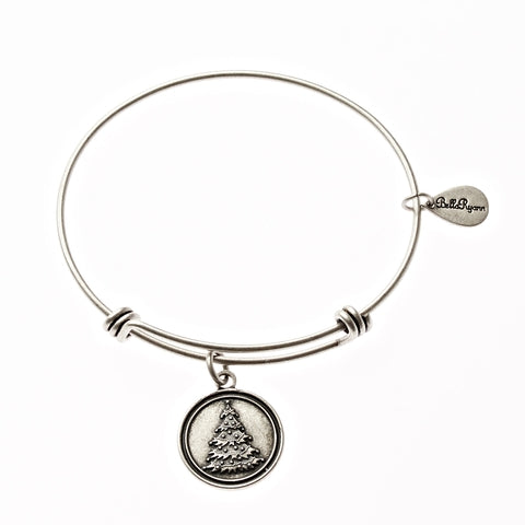 Christmas Tree Expandable Bangle Charm Bracelet in Silver - BellaRyann