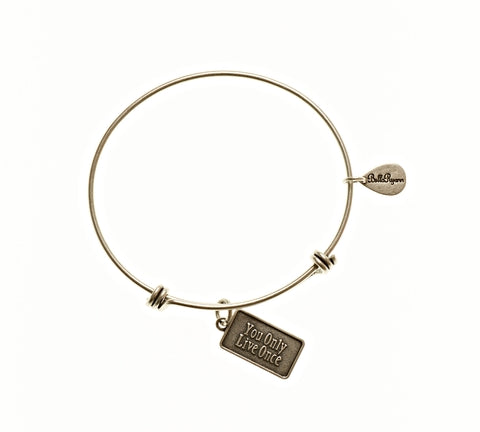 You Only Live Once Expandable Bangle Charm Bracelet in Silver - BellaRyann