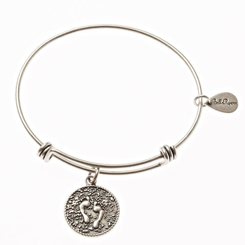 Feet Print In The Sand Expandable Bangle Charm Bracelet in Silver - BellaRyann