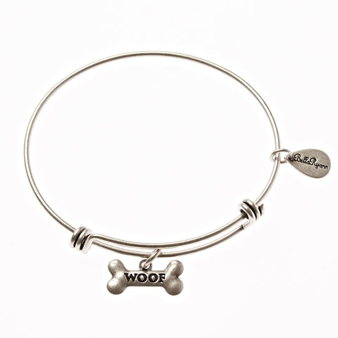 Woof Dog Bone Expandable Bangle Charm Bracelet in Silver
