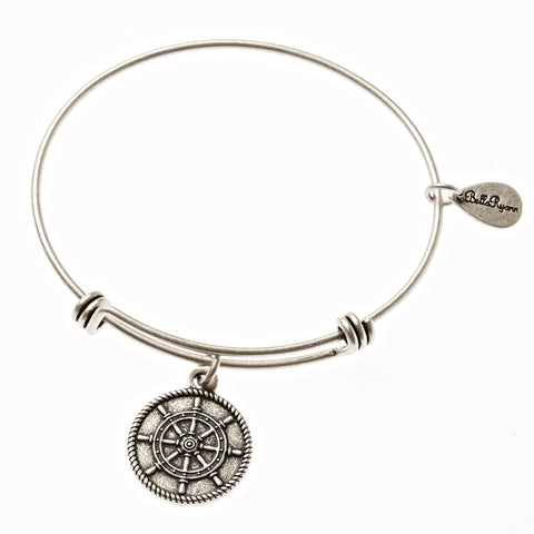 Ships Wheel Expandable Bangle Charm Bracelet in Silver