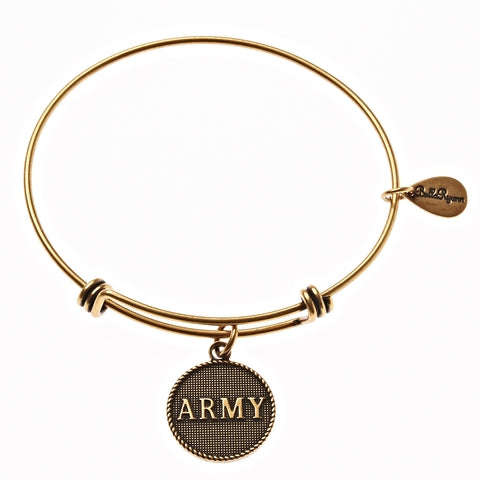 Army Expandable Bangle Charm Bracelet in Gold - BellaRyann