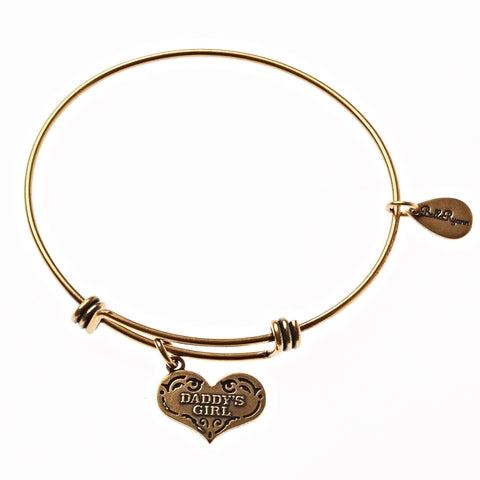 Daddy's Girl Expandable Bangle Charm Bracelet in Gold - BellaRyann