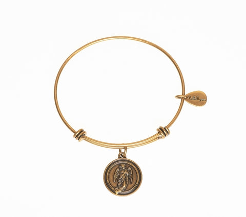 Guardian Angel Expandable Bangle Charm Bracelet in Gold - BellaRyann