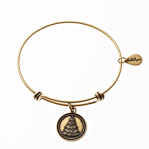 Christmas Tree Expandable Bangle Charm Bracelet in Gold - BellaRyann