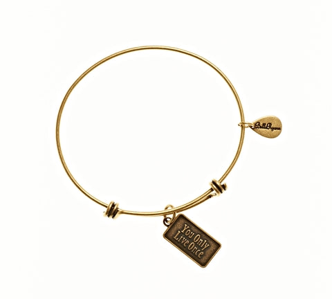 You Only Live Once Expandable Bangle Charm Bracelet in Gold - BellaRyann