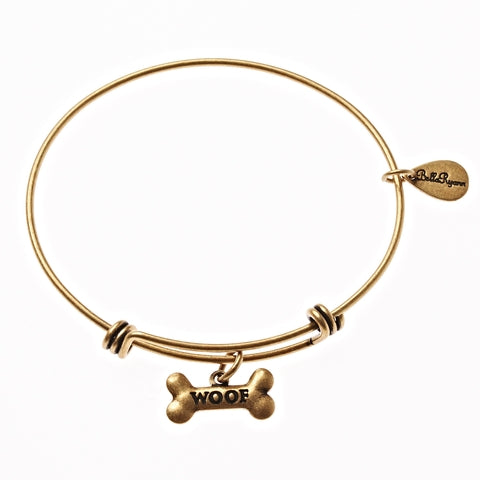 Woof Dog Bone Expandable Bangle Charm Bracelet in Gold