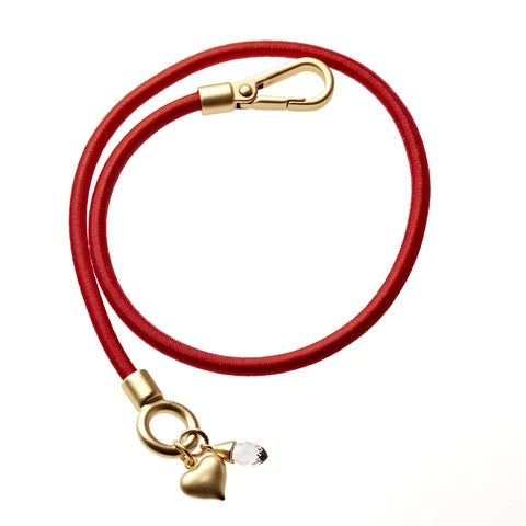 Red Bungee Wrap Bracelet in Gold
