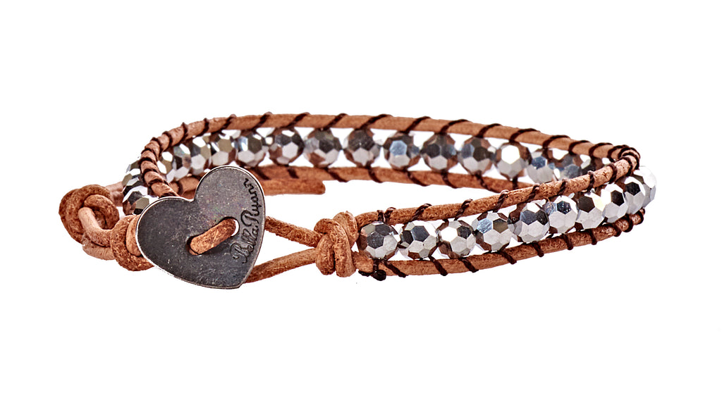 Allison - Silver Crystal with Tan Leather - Single Wrap Bracelet - BellaRyann