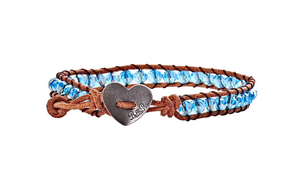 Jennifer - Aquamarine with Tan Leather - Single Wrap Bracelet - BellaRyann