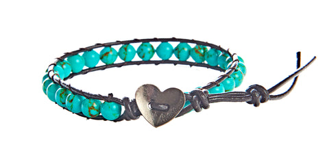 Ashley - Turquoise With Dark Brown Leather - Single Wrap Bracelet - BellaRyann