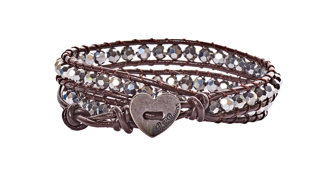 Monica - Silver Crystal with Dark Brown Leather - Double Wrap Bracelet