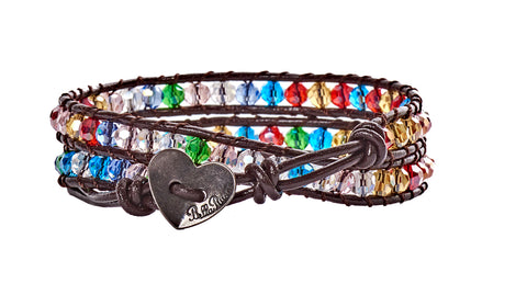Emily - Multi Color Crystal with Dark Brown Leather - Double Wrap Bracelet - BellaRyann