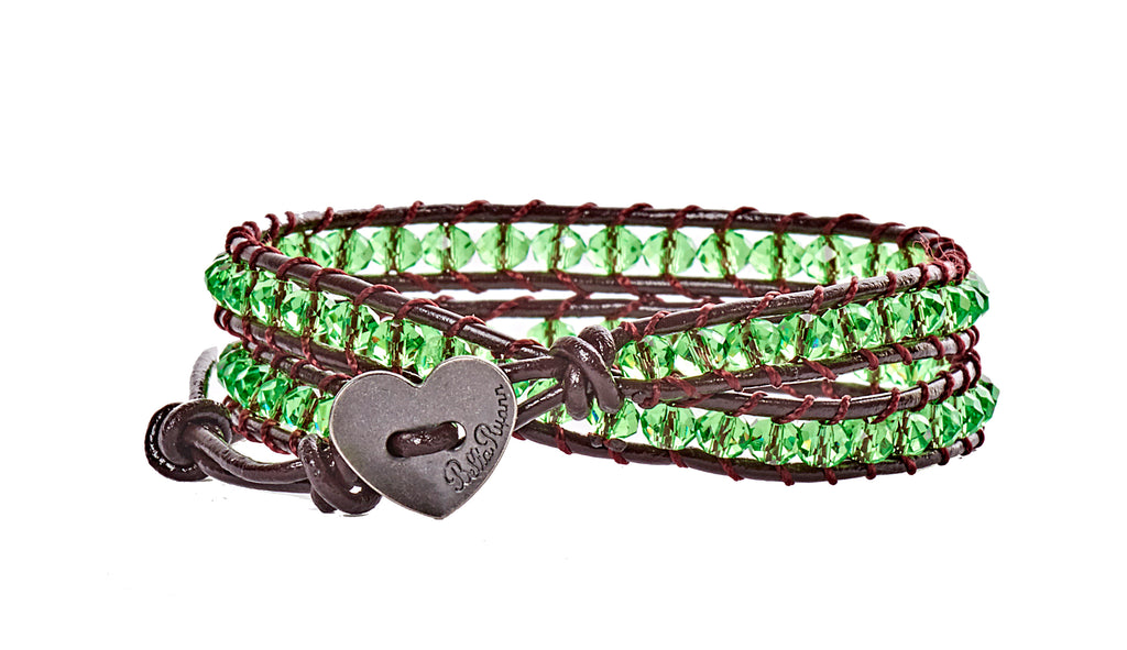 Mary - Green with Dark Brown Leather - Double Wrap Bracelet