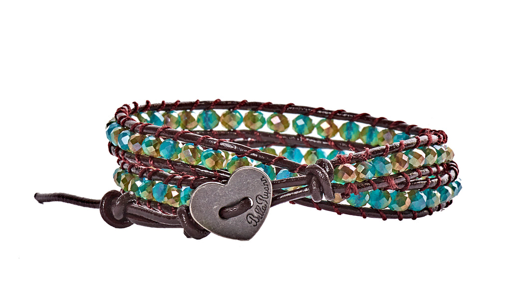 Jessica - Aqua & Gold with Dark Brown Leather  - Double Wrap Bracelet