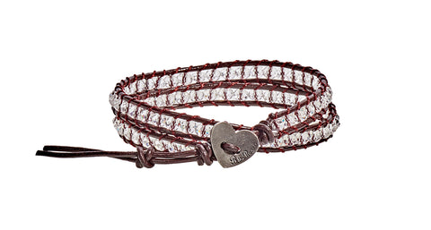 Grace - Clear Crystal with Dark Brown Leather  - Double Wrap Bracelet - BellaRyann