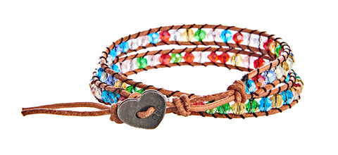 Angela - Multi Color Crystals with Tan Leather - Double Wrap Bracelet - BellaRyann