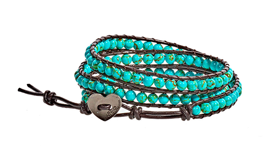 Leesa - Turquoise with Dark Brown Leather - Triple Wrap Bracelet - BellaRyann