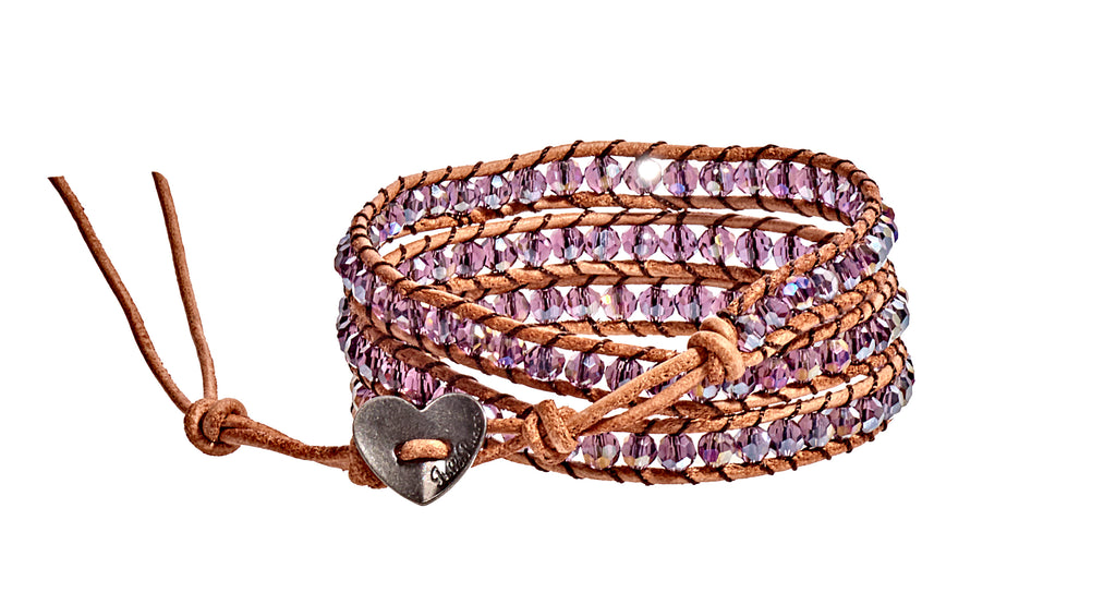 Rebecca - Purple Iridescent with Tan Leather - Triple Wrap Bracelet - BellaRyann