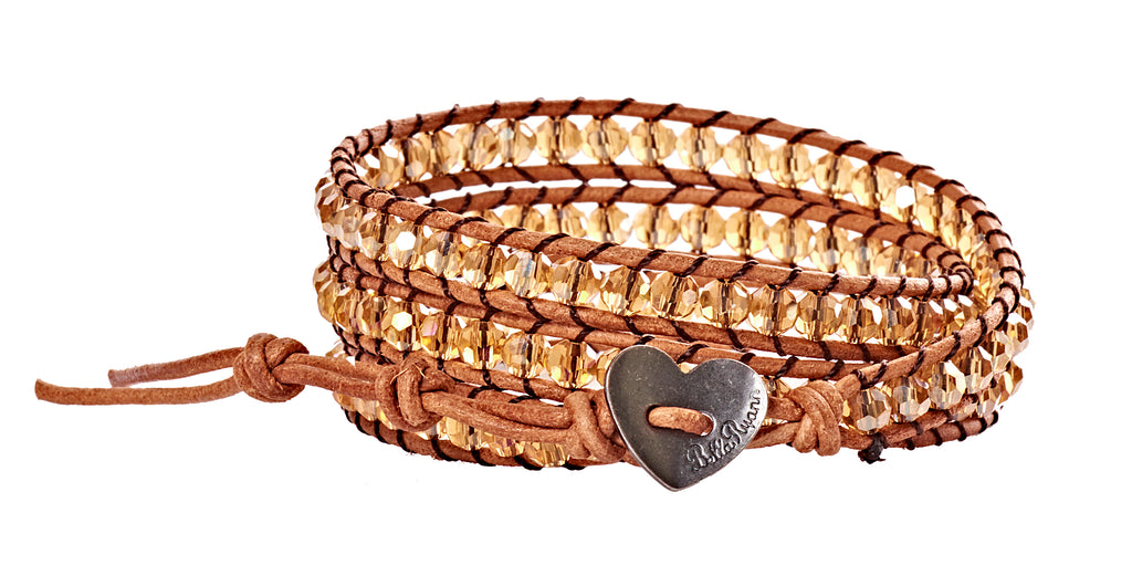 Mariann - Amber Iridescent with Tan Leather - Triple Wrap Bracelet