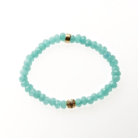 Aqua Jade Beaded Crown Jewel Bracelet in Gold - BellaRyann