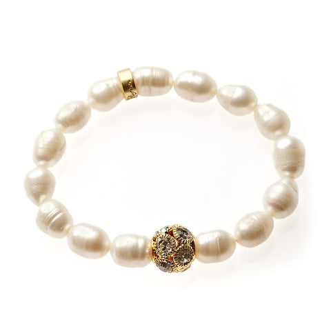 Pearl Beaded Crown Jewel Bracelet in Gold