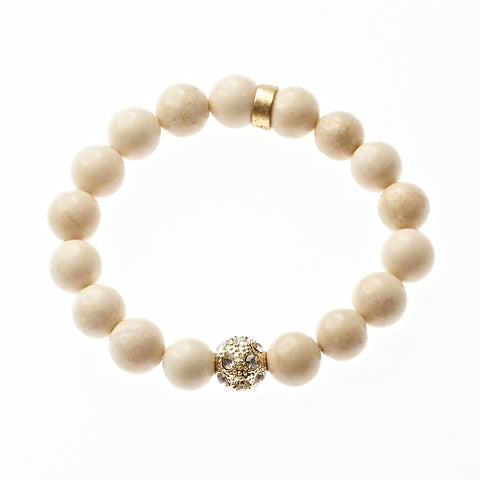 Riverstone Beaded Crown Jewel Bracelet in Gold