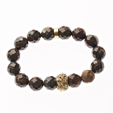 Brown Agate Beaded Crown Jewel Bracelet in Gold - BellaRyann