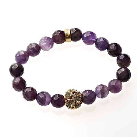 Amethyst Beaded Crown Jewel Bracelet in Gold - BellaRyann