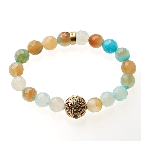 Ocean Sand Agate Beaded Crown Jewel Bracelet in Gold