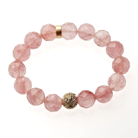 Rose Agate Beaded Crown Jewel Bracelet in Gold