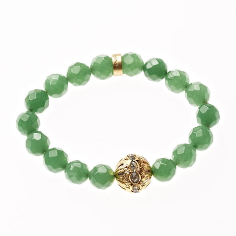 Emerald Jade Beaded Crown Jewel Bracelet in Gold - BellaRyann