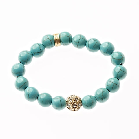 Turquoise Beaded Crown Jewel Bracelet in Gold - BellaRyann