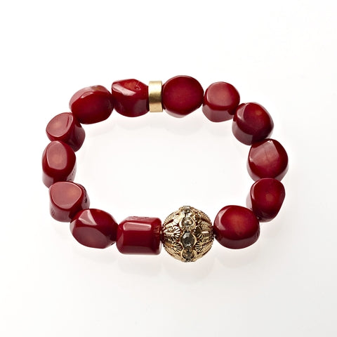 Red Coral Beaded Crown Jewel Bracelet in Gold