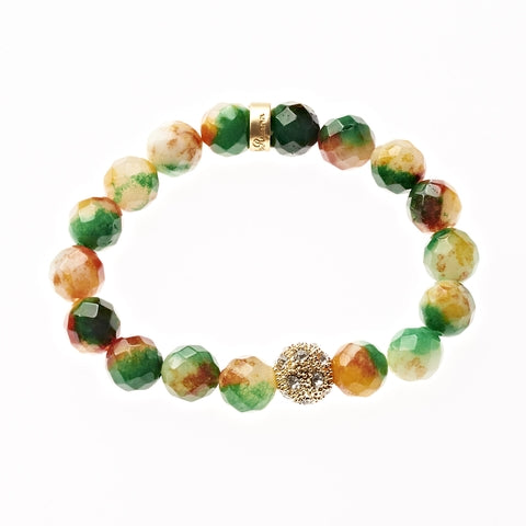 Citrus Sorbet Agate Beaded Crown Jewel Bracelet in Gold - BellaRyann